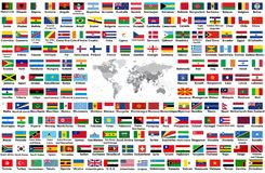Vector set of all world flags arranged in alphabetical order isolated on white background. World map with countries names and bord. Vector set of all world flags Stock Photography