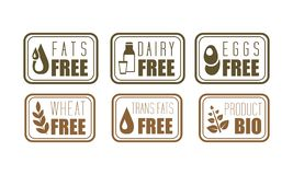 Vector set of allergen free labels trans fats, dairy, eggs and wheat . Natural product symbols. Organic food theme. Collection of allergen free labels trans fats royalty free illustration
