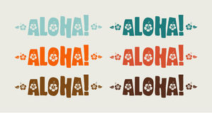 Vector set of aloha word in retro colors. Hand drawn text Royalty Free Stock Images