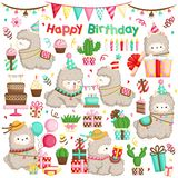 A Vector Set of Alpaca Celebrating Birthday with Cakes and Many Gifts stock photo