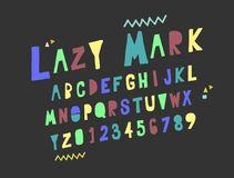 Vector set Alphabets. Cute colorful English alphabet. Vector set Alphabets. Cute colorful English alphabet, vintage font on dark background Royalty Free Stock Photo