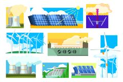 Vector set of alternative energy sources. Electricity production industry. Solar, wind, hydroelectric, nuclear and. Set of alternative energy sources royalty free illustration