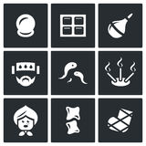 Vector Set of Alternative Medicine Icons. Vacuum therapy, Mustard plaster, Enema, Compress, Girudotherapy, Aromatherapy Stock Images