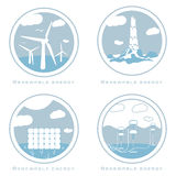 Vector set of alternative and renewable energy royalty free illustration