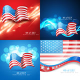 Vector set of american flag in different creative style Stock Photos