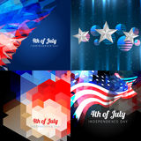 Vector set of american independence day background. Vector set of  american independence day background with american flag and creative pattern Royalty Free Stock Image