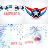 Vector set of american independence day flag design Royalty Free Stock Images