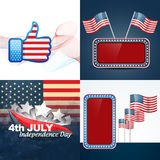 Vector set of american independence day flag design illustration Royalty Free Stock Photography