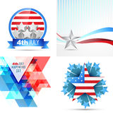 Vector set of american independence day flag design illustration Royalty Free Stock Photo