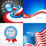 Vector set of american independence day flag design illustration. Vector set of 4th july american independence day background illustration with american flag Stock Photo