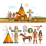Vector set of American indian tribal objects, icons, design elements in flat style. Totem, fire place Royalty Free Stock Photography