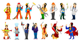 Vector set of american indians illustrations. Set of illustrations of american indians of different professions such as artist, scientist, builder, cleaner Royalty Free Stock Images