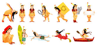 Vector set of american indians illustrations. Stock Image