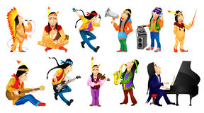 Vector set of american indians music illustrations Stock Image