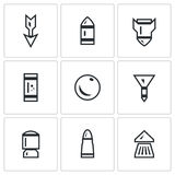 Vector Set of Ammunition Icons. Arrow, Bullet, Bomb, Shot, Core, Dart, Explosive Patron, Rrifle Cartridge, Pneumatic. Striking element of small arms. symbols on vector illustration