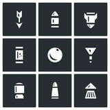 Vector Set of Ammunition Icons. Striking element of small arms. Isolated symbols on a white background stock illustration