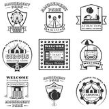 Vector set of amuesment park labels and design elements in vintage style. Black and white amusement park symbols, logos Royalty Free Stock Image