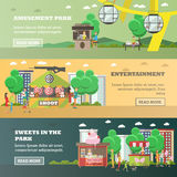 Vector set of amusement park concept horizontal banners, flat style Stock Images