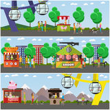 Vector set of amusement park concept posters, banners, flat style Royalty Free Stock Photos