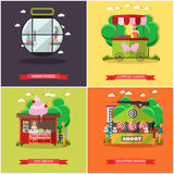Vector set of amusement park concept posters, banners, flat style Stock Photos