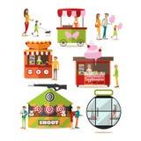 Vector set of amusement park design elements in flat style. Stock Photo