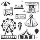 Vector set of amusement park isolated icons and objects. Attractions, carousel, wheel, ice cream cart. Royalty Free Stock Photo