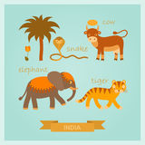 Vector set of amusing Indian animals. Vector set of cartoon amusing Indian animals Stock Photo