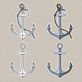 Vector set with  anchors. Black and white Royalty Free Stock Image