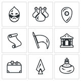 Vector Set of Ancient Russia Icons. Bogatyr, Church, Army, Banner, Palace, Monarch, Paper, Weapon, Wealth. Stock Image