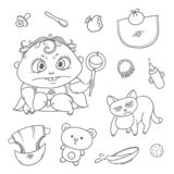 Vector set angry child and cat. Hygiene items, baby care and toys. Flat black color sketch contour illustration.  stock illustration