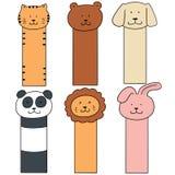 Vector set of animal bookmark. Hand drawn cartoon, doodle illustration vector illustration