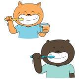 Vector set of animal brushing teeth vector illustration