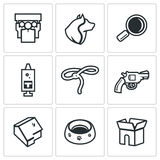 Vector Set of Animal Protection Icons.  Royalty Free Stock Images