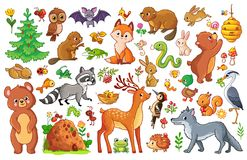 Vector set with animals and birds in a children`s style. stock illustration