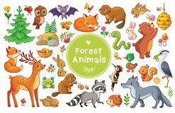 Vector set with animals and birds in a children`s style. Royalty Free Stock Image