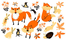 Vector set with animals and florals in children's style. Royalty Free Stock Photo