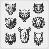 Vector set of animals head. Fox, wolf, tiger, rhino, bear, owl, leopard and lion. Black and white vector illustration
