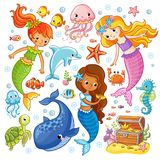 Vector set with animals and mermaids. royalty free illustration