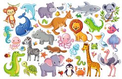Vector set with animals. Cute animal on a white background in a children`s style Stock Photos