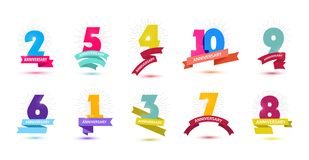 Vector set of anniversary dates compositions with ribbons, years birthday logo labels. Isolated. 1, 2 3 4 5 6 7 8 9 10 royalty free illustration