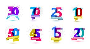 Vector set of anniversary dates compositions with ribbons, years birthday logo labels. Isolated. 10, 70, 25 50 45 15 20 30 stock illustration