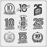 Vector set of Anniversary emblems, stickers and badges. Black and white Stock Images