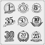 Vector set of Anniversary emblems, stickers and badges. Black and white Royalty Free Stock Image