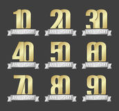 Vector set of anniversary golden signs Royalty Free Stock Images