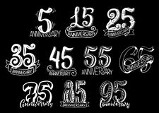 Vector set with anniversary numbers Stock Photography