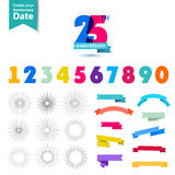 Vector set of anniversary numbers design. Create. Your own icons, compositions with ribbons, dates and sunbursts . Colorful retro collection Stock Image