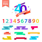 Vector set of anniversary numbers design. Create your own icons, compositions with ribbons, dates and sunbursts . Royalty Free Stock Images