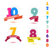 Vector set of anniversary numbers design. 10, 9, 7, 8 icons, compositions with ribbons. Colorful with shadows on white background isolated Royalty Free Stock Image