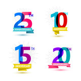 Vector set of anniversary numbers design. 25, 10. 15, 20 icons, compositions with ribbons. Colorful, transparent with shadows on white background Royalty Free Stock Photos