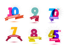 Vector set of anniversary numbers design. 10, 9, 70, 7, 8, 45 icons, compositions with ribbons. Colorful, transparent. Vector set of anniversary numbers design stock illustration